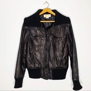 MICHAEL KORS Genuine Leather Moto Bomber Jacket